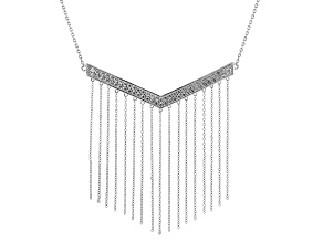 White Zircon Sterling Silver Chevron Necklace 3.11ctw