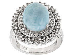 Blue Larimar Sterling Silver Ring 1.15ctw