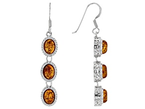 Orange Polish Amber Dangle Earrings