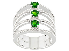 Green Russian Chrome Diopside And White Zircon Sterling Silver Ring 1.32ctw