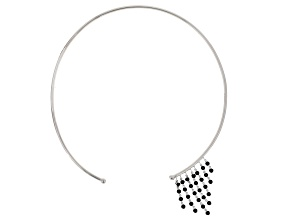 Black Spinel Sterling Silver Choker Necklace 5.52ctw