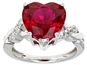 Red Lab Created Ruby Rhodium Over Sterling Silver Heart Shape Ring 7.87ctw