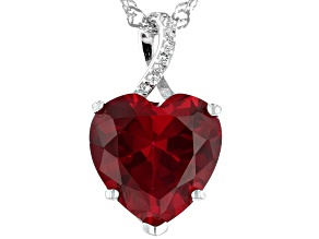 Red Lab Created Ruby Rhodium Over Sterling Silver Pendant With Chain 7.04ctw