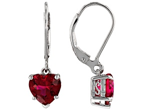 Red Lab Created Ruby Rhodium Over Sterling Silver Heart Shape Earrings 4.44ctw