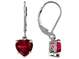 Red Lab Created Ruby Sterling Silver Heart Shape Earrings 4.44ctw