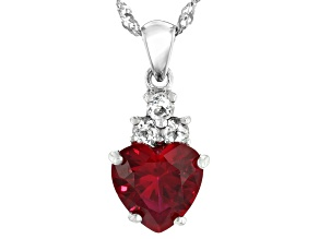 Red Lab Created Ruby Sterling Silver Pendant With Chain 4.04ctw