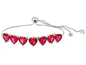 Red Lab Created Ruby Rhodium Over Sterling Silver Sliding Adjustable Bracelet 9.06ctw