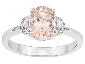 Pink Morganite And White Zircon Sterling Silver Ring 1.22ctw