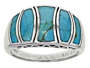 Blue Turquoise Sterling Silver inlaid Ring
