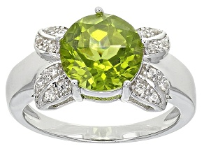 Green Peridot Sterling Silver Ring 2.67ctw