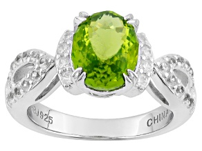 Green Peridot Sterling Silver Ring 2.32ctw