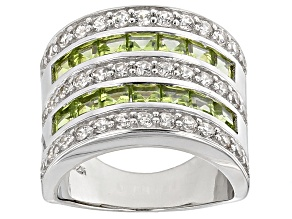 Green Peridot Sterling Silver Ring 4.29ctw