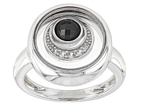 Black Spinel Sterling Silver Ring .37ctw