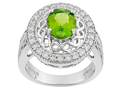 Green United States Peridot Sterling Silver Ring 2.11ctw