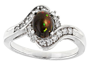 Black Ethiopian Opal Sterling Silver Ring. .63ctw