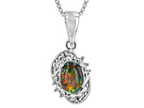 Black Ethiopian Opal Sterling Silver Pendant With Chain. .54ctw