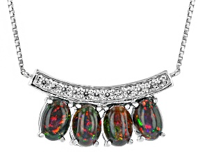Black Ethiopian Opal Sterling Silver Necklace 1.69ctw