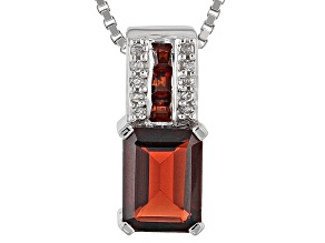 Red Garnet Sterling Silver Pendant With Chain 2.12ctw