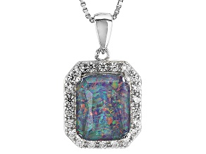 Multicolor Australian Opal Triplet Sterling Silver Pendant With Chain .37ctw