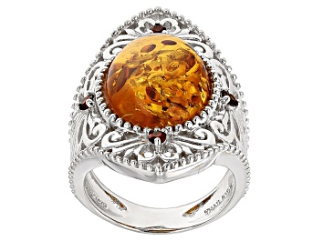 Picture of Orange Amber Rhodium Over Sterling Silver Ring .17ctw