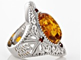 Orange Amber Rhodium Over Sterling Silver Ring .17ctw