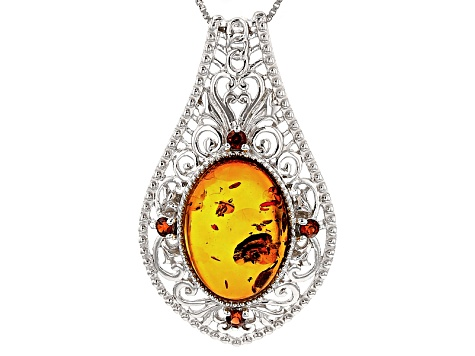 Orange Amber Rhodium Over Sterling Silver Pendant With Chain .31ctw