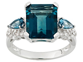 Teal Blue Fluorite Sterling Silver Ring 5.55ctw