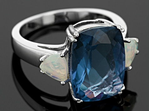 Blue Color Change Fluorite Sterling Silver Ring 7.95ctw