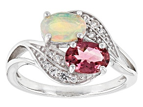 Pink Tourmaline Sterling Silver Ring. 1.10ctw