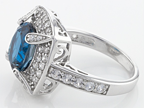 London Blue Topaz Sterling Silver Ring 4.03ctw