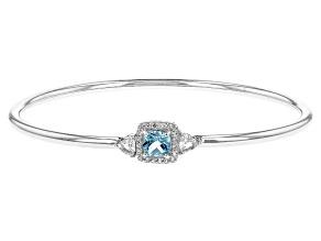 Blue Topaz Sterling Silver Bangle Bracelet 1.38ctw