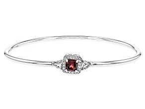 Red Garnet Sterling Silver Bangle Bracelet 1.58ctw