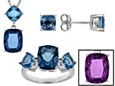 Blue Color Change Fluorite Sterling Silver Jewelry Set 10.18ctw