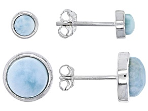 Blue Larimar Sterling Silver Earring Set Of Two Pairs