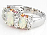 Ethiopian Opal Rhodium Over Sterling Silver Ring 1.95ctw