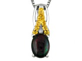 Black Ethiopian Opal Sterling Silver Pendant With Chain .73ctw