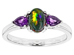 Black Ethiopian Opal Sterling Silver Ring. .71ctw