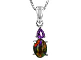 Black Ethiopian Opal Sterling Silver Pendant With Chain. .63ctw