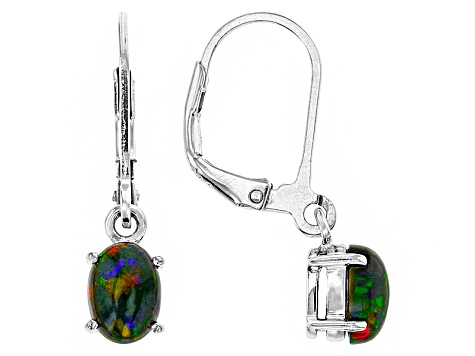 Black Ethiopian Opal Sterling Silver Earrings .85ctw