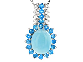 Blue Larimar Sterling Silver Pendant With Chain .82ctw