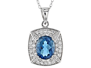 London Blue Topaz Sterling Silver Pendant With Chain 3.44ctw