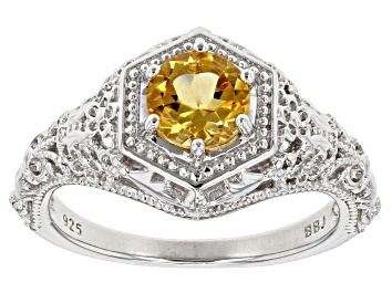 Picture of Yellow Citrine Rhodium Over Sterling Silver Ring .68ctw