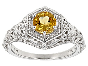Yellow Citrine Rhodium Over Sterling Silver Ring .68ctw