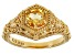 Yellow Citrine 18k Gold Over Sterling Silver Ring .68ct