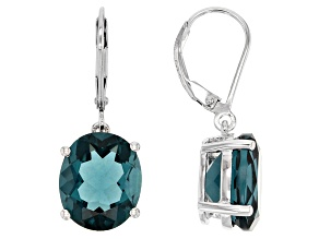 Teal Fluorite Sterling Silver Solitaire Earrings 11.09ctw