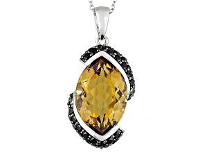 Brown Champagne Quartz Sterling Silver Pendant With Chain 11.25ctw