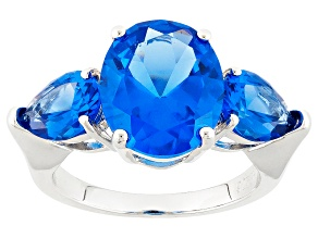 Blue Lab Created Spinel Sterling Silver Ring 6.00ctw