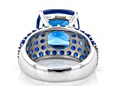 Blue Lab Created Spinel Rhodium Over Sterling Silver Ring 8.01ctw