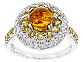 Orange Amber Silver Ring .92ctw