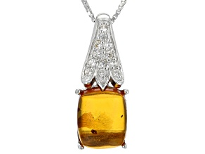 Orange Amber Silver Pendant With Chain .21ctw